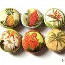 "Cute Retro Flowers of Hawaii 1"" Pins Badges Set of 6"