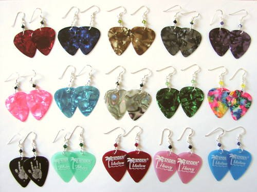 15 Pair Guitar Pick Earrings Rock & Roll Party Favors