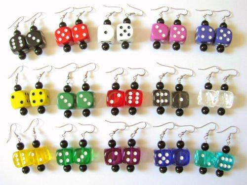 15 Pair 16mm Dice Earrings Party Pack Bunco Prizes Fun