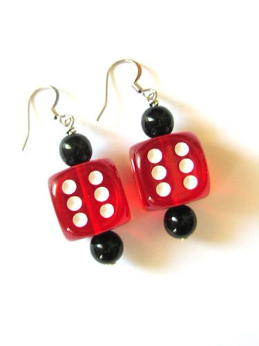 1 Pair Dice Earrings 16mm Bunco Game - Pick your Color