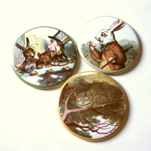 """2.25"""" Alice in Wonderland Magnets or Mirrors Mad Hatter"""