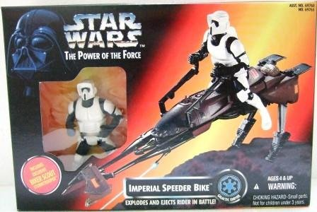 1995 - Imperial Speeder Bike - Action Figure - Star Wars - The Power of The Force - Red Card