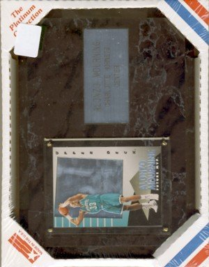 """Alonzo Mourning #33 - The Platinum Collection - 6"""" X 8"""" Black Marble Plaque"""