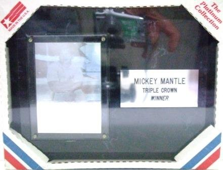 """Mickey Mantle  #7 - Triple Crown Winner - The Platinum Collection - 6"""" X 8"""" Black Marble Plaque"""