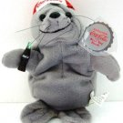 1997 - Collectible Coca-Cola Brand - Bean Bag Plush - Seal - in Baseball Cap