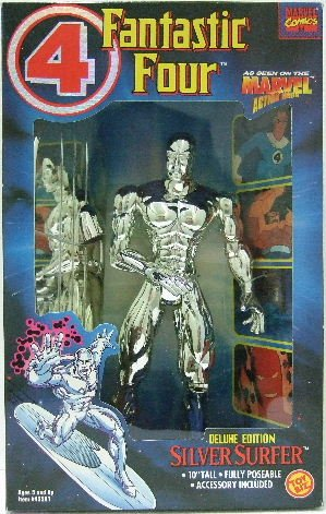 "Dallas Sales Tax >> 1994 - Toy Biz - Marvel Comics - Fantastic Four - Deluxe Edition - 10"" Silver Surfer"