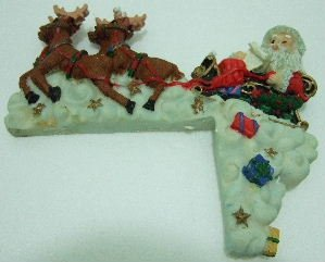 Santa Claus & Reindeers - Wall Mount Decoration - Poly Resin