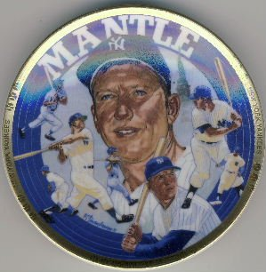 """1993 - Sports Impressions - Mickey Mantle - Living Legend - The Sports Superstar - 4"""" Plate"""