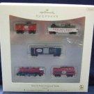 2007 Hallmark North Pole Central Train Lionel Miniature 5 Christmas Ornament Set