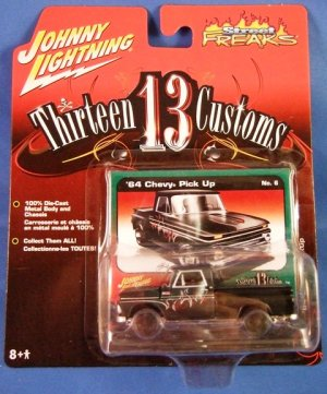 2006 - Johnny Lightning - Street Freaks - Thirteen Customs - '64 Black Chevy Pick Up - Die-cast