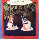 1996 - Hallmark - Keepsake Ornament - Hockey - Goal Line Glory - Set of Two Ornaments
