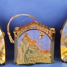 Three Gold Tin Metal Christmas Ornament Set