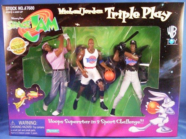 1997 - Playmates - Space Jam - Michael Jordan - Triple Play - Toy Action Figures
