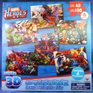 2011  - Cardinal - Marvel Heroes - Super 3D - 6 Puzzle Pack - Jigzaw Puzzle