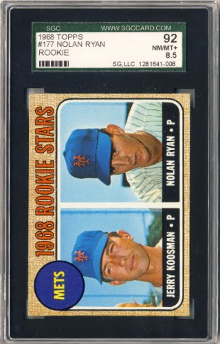 1968 Topps BB # 177 Nolan Ryan / Jerry Koosman Rookie SGC NM/MT+
