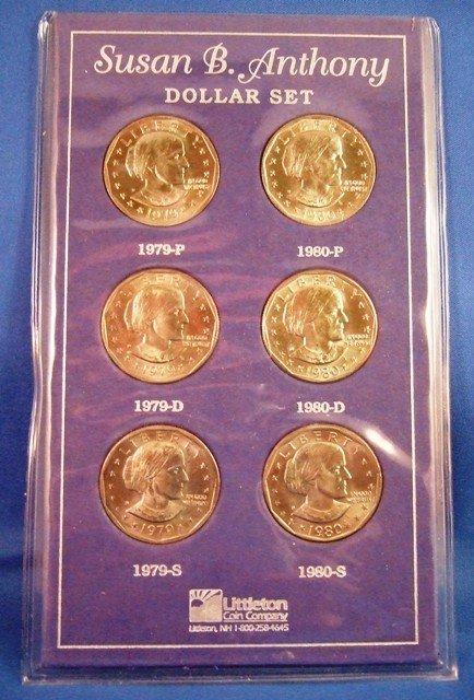 1979 Amp 1980 Susan B Anthony Dollar P D S Mint