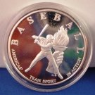 Baseball - Americas' Team Sport In Action - Inaugural Year - One Troy Ounce .999 Fine Silver Coin
