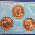 1979 - Susan B. Anthony Dollar - P D S Mint - MS-BU Uncirculated - 3 Dollar Coin Set