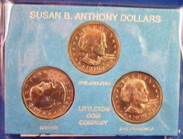 1979 - Susan B. Anthony Dollar - P D S Mint - MS-BU Uncirculated - 3 Dollar Coin Set