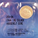1964- VG - US Roosevelt Dime - Circulated - 90 % Silver Content
