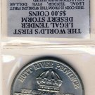 1991 - THE WORLD'S FIRST LEGAL TENDER DESERT STORM $5.00 COIN - INCLUDED COA