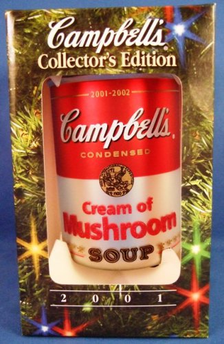 2001 - Campbell Soup Company - Cream Of Mushroom - Glass Soup Can - Collectible Ornament