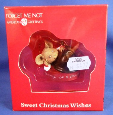 1985 - American Greetings - Forget Me Not - Sweet Christmas Wishes - Christmas Ornament