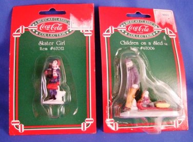 1995 - Coca-Cola - American Classics -  Children On A Sled & Skater Girl  - Porcelain Figurines