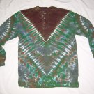 Tie Dye Men's Long Sleeve 3 Button Henley Medium #3