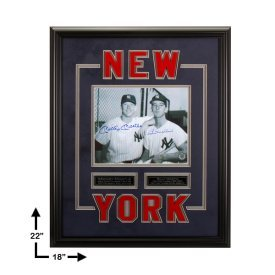 Certified Mickey Mantle and Billy Martin Signed Dual Autographed Custom Framed