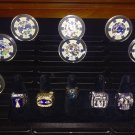 New York Giants Super Bowl Champs Ring Display Case w/Rings & Player Poker Chips