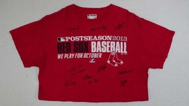 Rare 1/1 2013 Boston Red Sox WS Champs Team Post Season Signed Baseball Shirt - Ortiz, Pedroia..+8