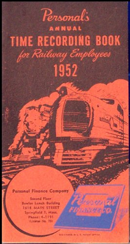 Time Recording Book for Railroad Employees - 1952