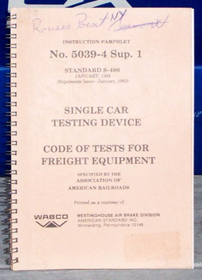 Booklet Railroad Testing Device Single Car - 1984