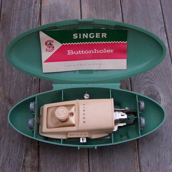 Vintage Singer Buttonholer kit in a box