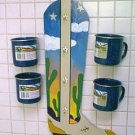 COWBOY BOOT CUP HOLDER W/ CUPS