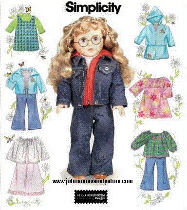 Simplicity 7083 Play Clothes Wardrobe for 18 Inch Dolls