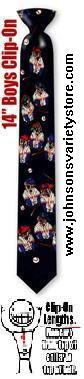 Mutt Baseball Boys 14inch clipon Tie - black polyester