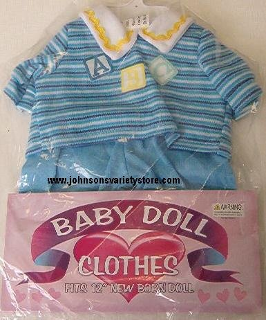 "12"" Newborn Baby doll Outfit - Blue / NEW!"