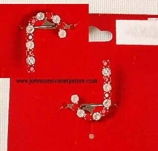 Jeweled Candy Cane pin / Initial J Christmas red/white