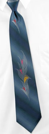 Silvered Tulips by Imported Designers blue silk ties