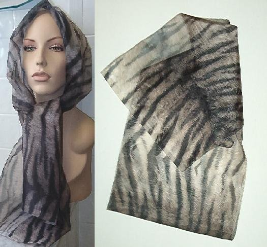 "15"" x 59"" sheer animal print scarf NEW!"