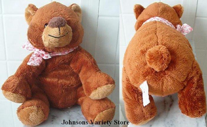 "9"" Sitting Goffa Brown Plush Bear w/ big nose"