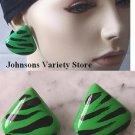 Green / Black animal design Stud / Peirced Earrings