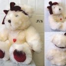 Sweetheart Dakin Bear w/ Velvet paws & bow & Necklace