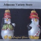 Hand Crafted Penguin glass ornament set of two