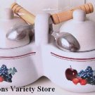 JHouston Harvest DOUBLE JELLY JAR w/ Lids & Spoons