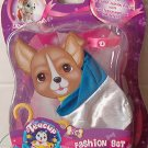 TEACUP DOGGIE FASHION SET WHITE & BLUE w/ pink neck collar, yellow hanger set #2