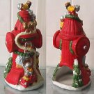 Christmas Decorated Fire Hydrant & Bears Tea Candle Holder Lamp
