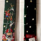 "Adult Size Tie Tales ""Red Santa Football"" black/Green tie 59"" Long NWT"